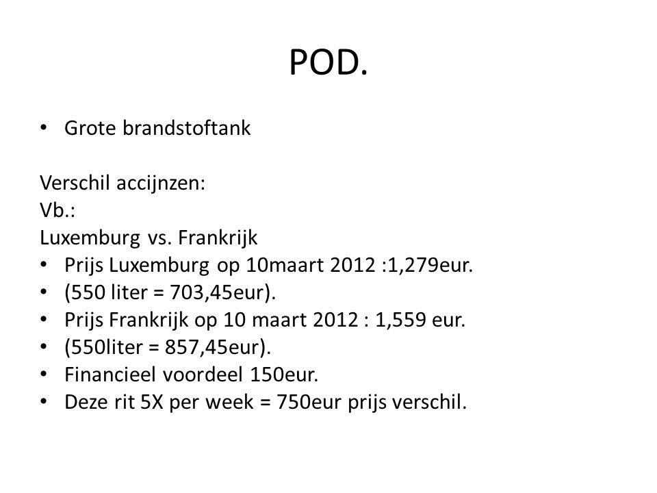 POD. Grote brandstoftank Verschil accijnzen: Vb.: Luxemburg vs. Frankrijk Prijs Luxemburg op 10maart 2012 :1,279eur. (550 liter = 703,45eur). Prijs Fr