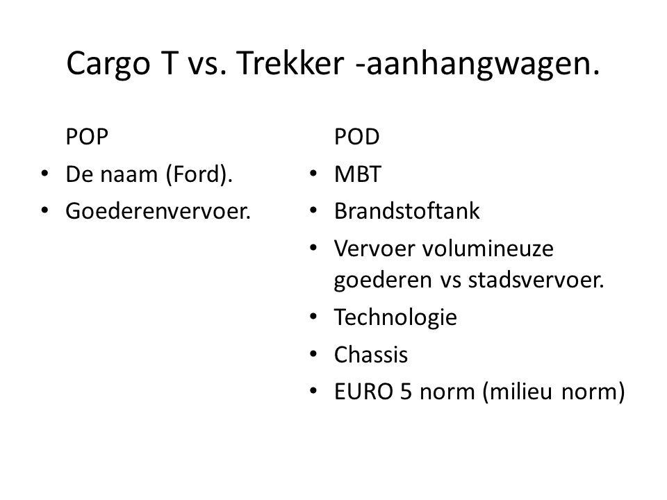 Cargo T vs. Trekker -aanhangwagen. POP De naam (Ford). Goederenvervoer. POD MBT Brandstoftank Vervoer volumineuze goederen vs stadsvervoer. Technologi