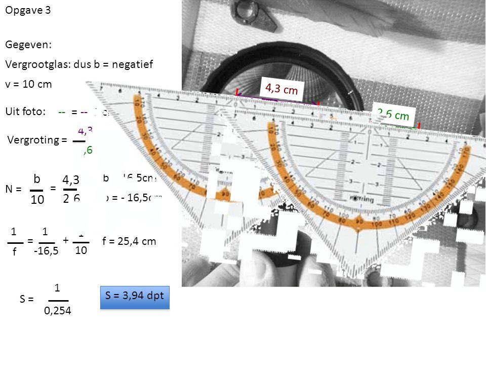 Opgave 3 Gegeven: v = 10 cm Vergrootglas: dus b = negatief Uit foto: -- = -- 5 cm Vergroting = 4,3 cm 2,6 cm 4,3 2,6 N = b 10 4,3 2,6 = b = 16,5cm b = - 16,5cm 1 f = 1 -16,5 + 1 10 f = 25,4 cm S = 1 0,254 S = 3,94 dpt