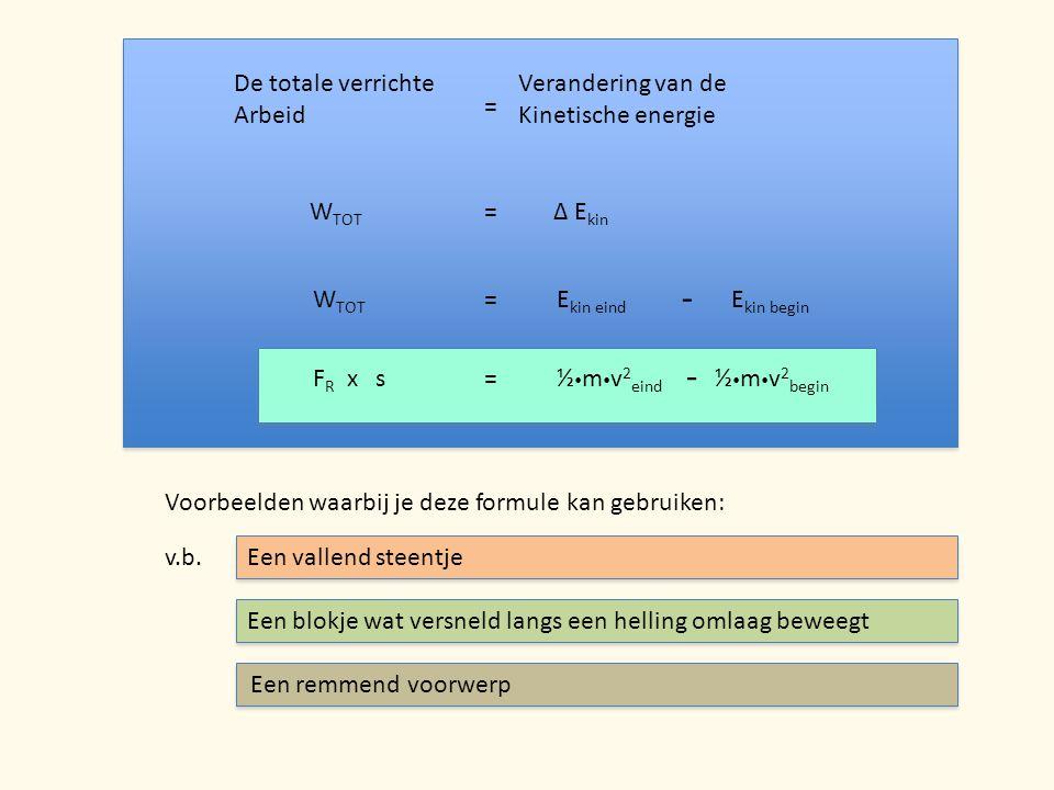 De totale verrichte Arbeid = Verandering van de Kinetische energie W TOT =Δ E kin W TOT =E kin eind - E kin begin F R x s=½  m  v 2 eind ½  m  v 2