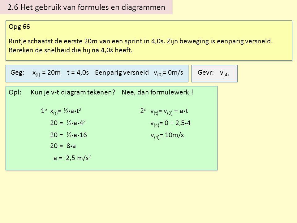 2.6 Het gebruik van formules en diagrammen Opg 66 Rintje schaatst de eerste 20m van een sprint in 4,0s. Zijn beweging is eenparig versneld. Bereken de