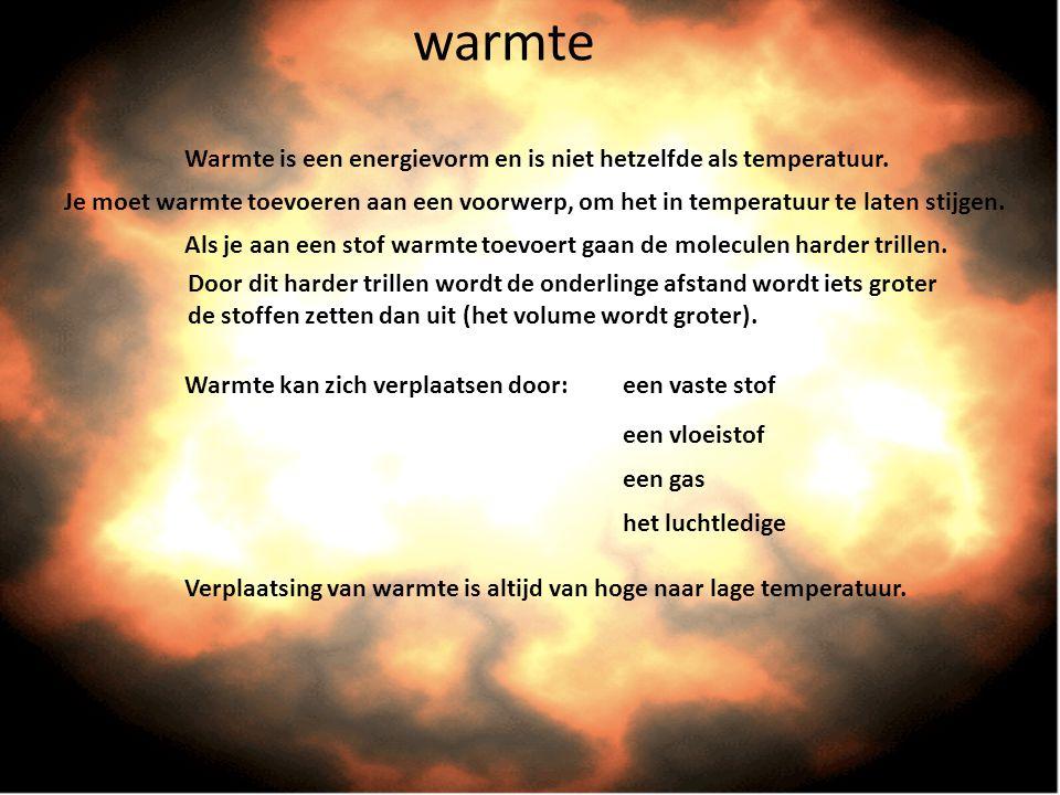 warmte Warmte is een energievorm en is niet hetzelfde als temperatuur. Warmte kan zich verplaatsen door:een vaste stof een vloeistof een gas het lucht