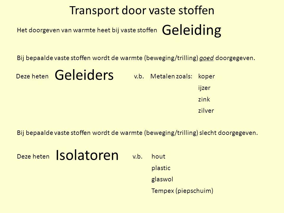 Transport door vaste stoffen Bij bepaalde vaste stoffen wordt de warmte (beweging/trilling) goed doorgegeven. Deze heten Het doorgeven van warmte heet