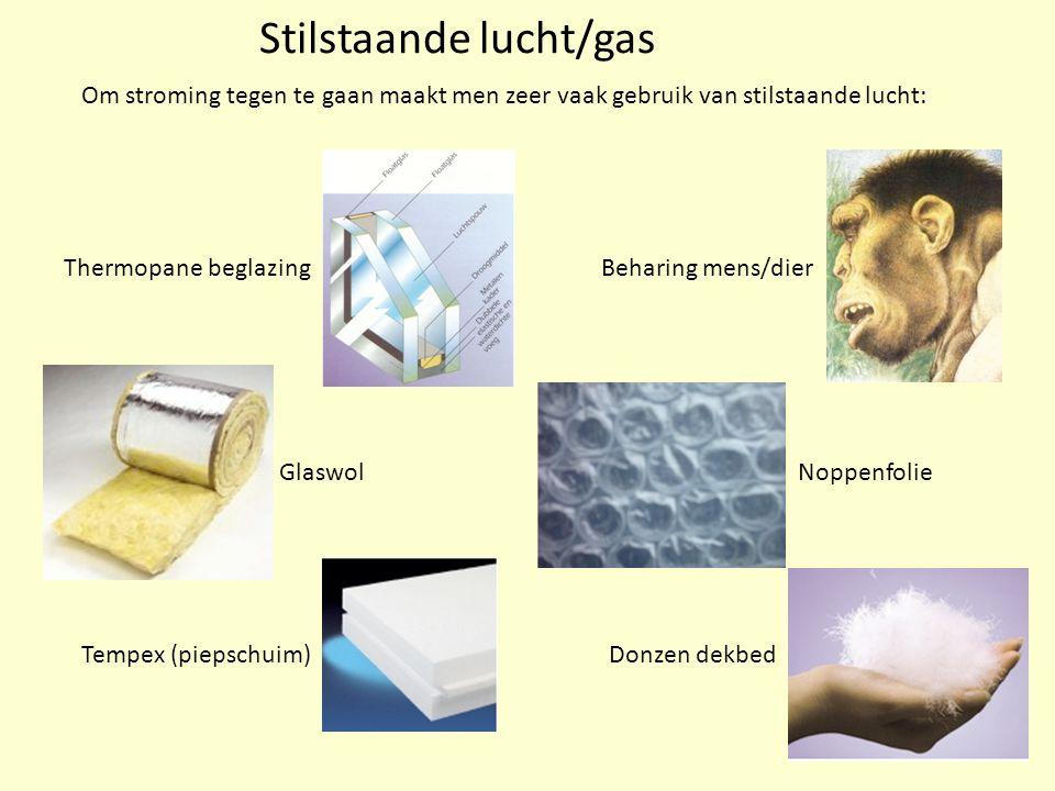 Stilstaande lucht/gas Om stroming tegen te gaan maakt men zeer vaak gebruik van stilstaande lucht: Thermopane beglazing Glaswol Tempex (piepschuim) Be