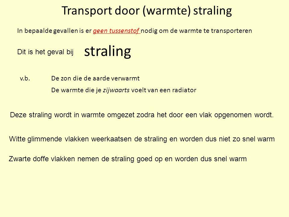 Transport door (warmte) straling v.b. In bepaalde gevallen is er geen tussenstof nodig om de warmte te transporteren straling De zon die de aarde verw