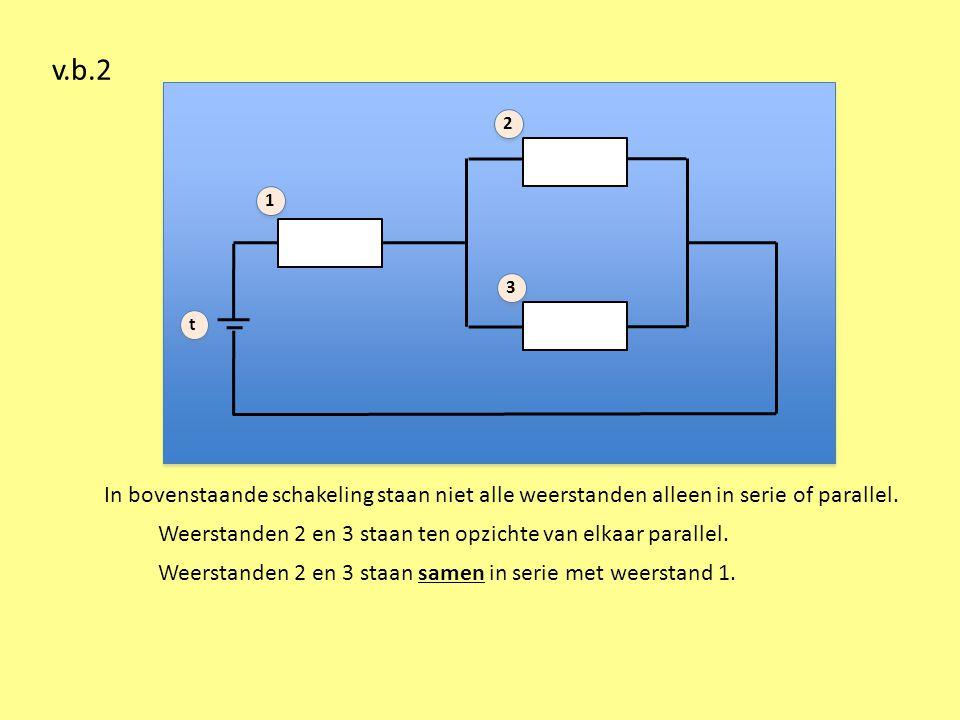 v.b.2 1 2 3 t In bovenstaande schakeling staan niet alle weerstanden alleen in serie of parallel.