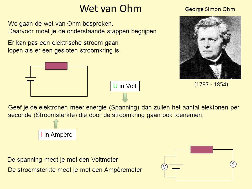 Wet van Ohm (1787 - 1854) George Simon Ohm We gaan de wet van Ohm bespreken.