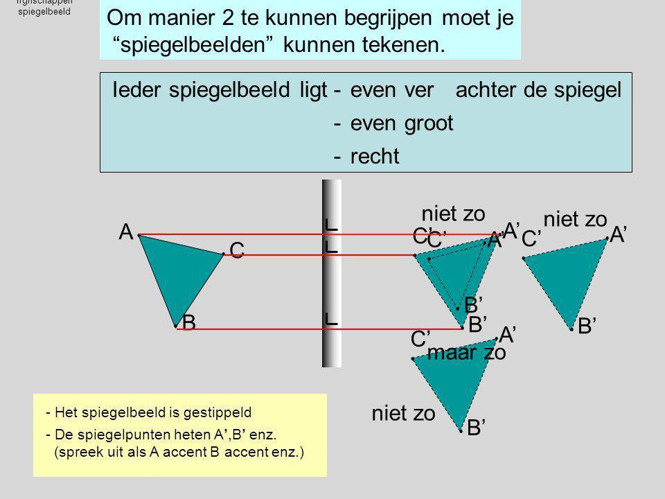 """Ifgnschappen spiegelbeeld Om manier 2 te kunnen begrijpen moet je """"spiegelbeelden"""" kunnen tekenen. A A   C C  B B Ieder spiegelbeeld ligteven ve"""