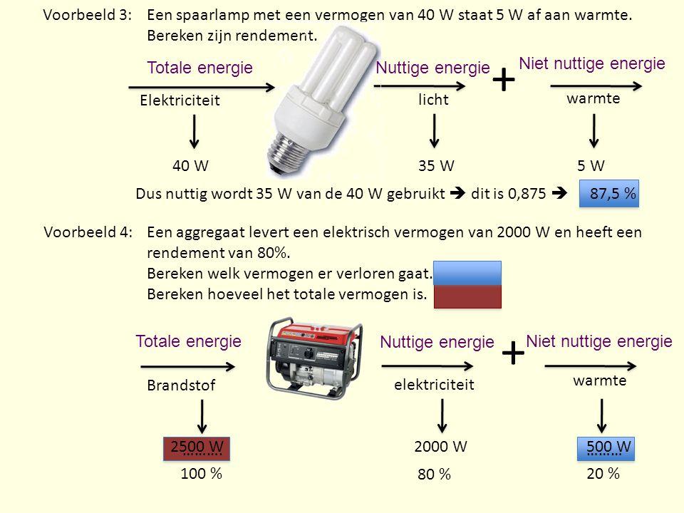 Een spaarlamp met een vermogen van 40 W staat 5 W af aan warmte. Bereken zijn rendement. Elektriciteit + licht warmte 35 W5 W 40 W Dus nuttig wordt 35