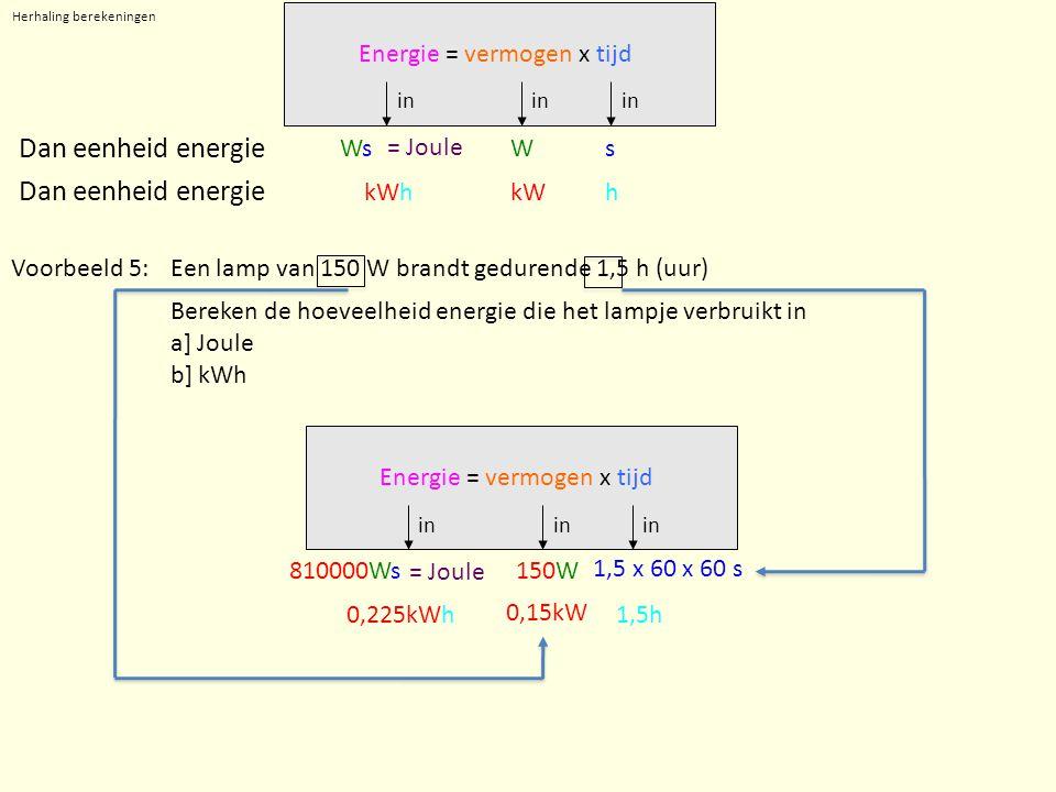 Herhaling berekeningen in Ws Dan eenheid energie WsWs kWhkWh Dan eenheid energie Energie = vermogen x tijd = Joule Voorbeeld 5:Een lamp van 150 W bran
