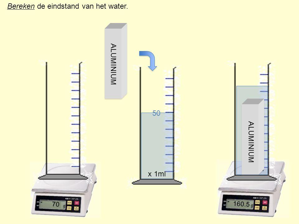 Bereken de eindstand van het water. 1 2 3 4 x 10ml 70 160.5 x 1ml 50 ALUMINIUM