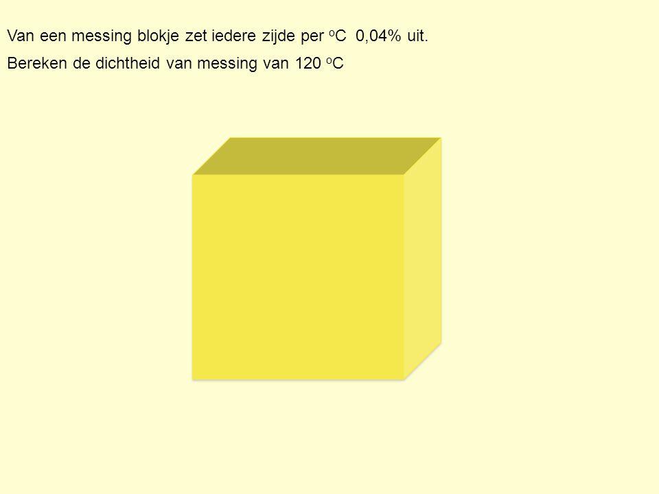 Bereken de dichtheid van messing van 120 o C Van een messing blokje zet iedere zijde per o C 0,04% uit.
