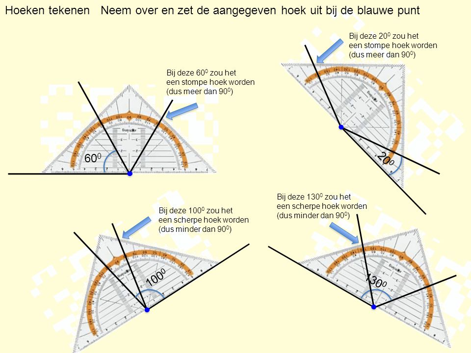 Hoeken metenNeem zo goed mogelijk over en meet de aangegeven hoeken Meer dan 90 0 130 0 Minder dan 90 0 precies 90 0 Meer dan 90 0 48 0 90 0 144 0