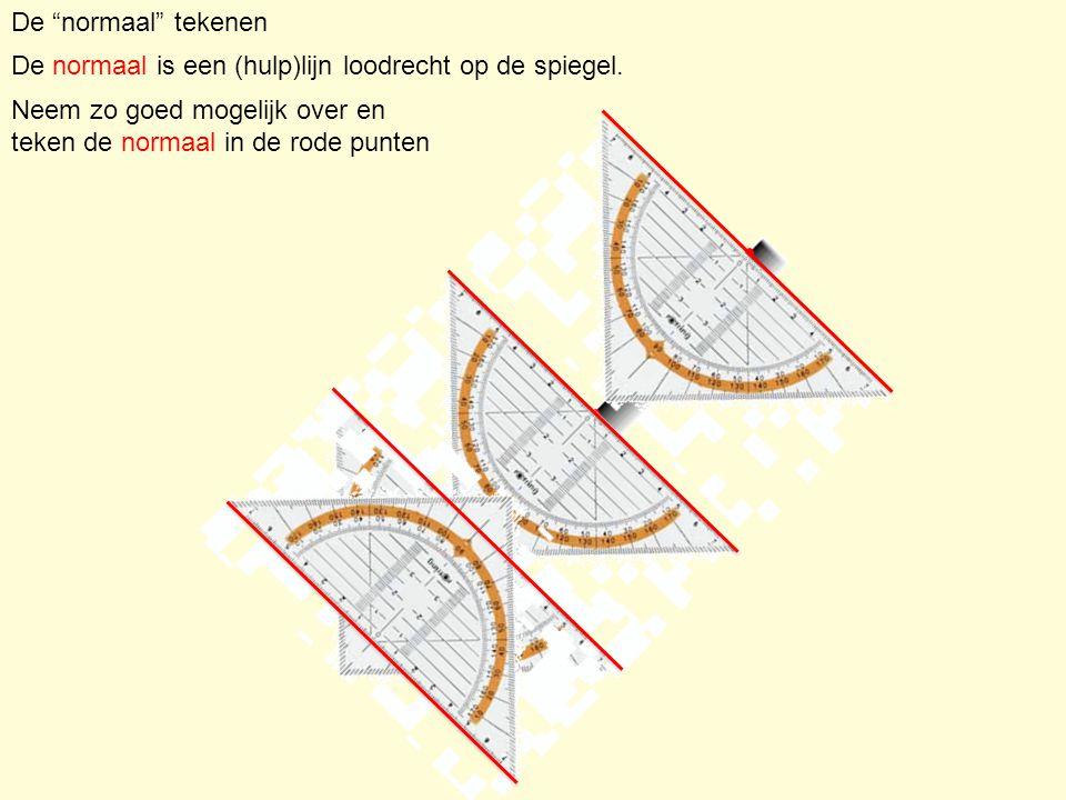 """De """"normaal"""" tekenen De normaal is een (hulp)lijn loodrecht op de spiegel. Neem zo goed mogelijk over en teken de normaal in de rode punten"""