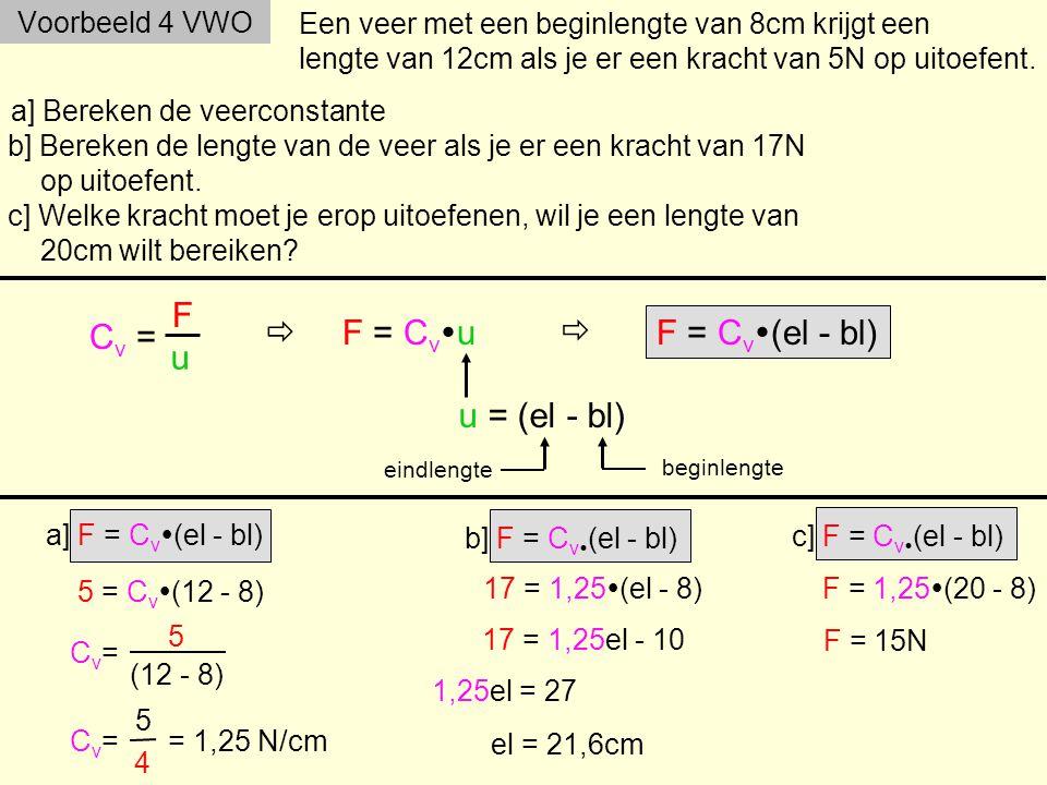 Voorbeeld 4 VWO Een veer met een beginlengte van 8cm krijgt een lengte van 12cm als je er een kracht van 5N op uitoefent.