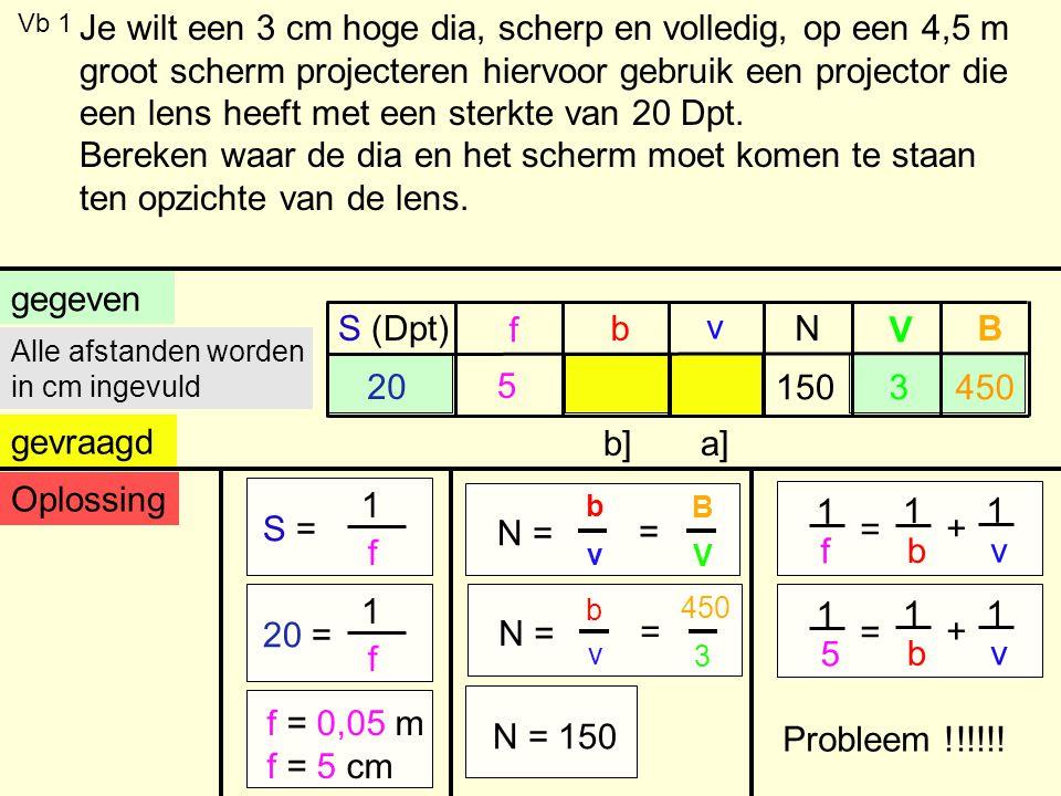Vb 1 gegeven S (Dpt) f b v V BN gevraagd 20 3 a]b] Alle afstanden worden in cm ingevuld Oplossing S = 1 f 20 = 1 f f = 0,05 m f = 5 cm 1 f = 1 b + 1 v 1 5 = 1 b + 1 v 5 N = b v B V = b v 450 3 = N = 150 150450 Je wilt een 3 cm hoge dia, scherp en volledig, op een 4,5 m groot scherm projecteren hiervoor gebruik een projector die een lens heeft met een sterkte van 20 Dpt.