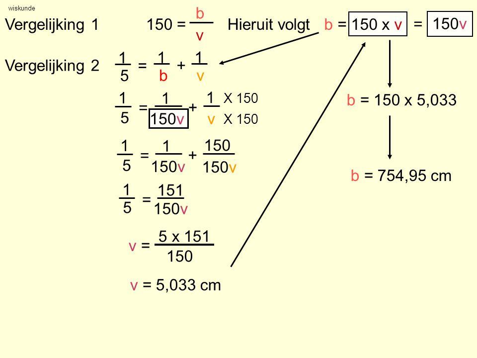 wiskunde Vergelijking 1 150 = b v Vergelijking 2 Hieruit volgtb = 150 x v b = 150 x 5,033 b = 754,95 cm = 150v 1 5 = 1 + 1 v 1 5 = 1 b + 1 v X 150 1 5 = 151 150v 1 5 = 1 + 150 150v v = 5 x 151 150 v = 5,033 cm