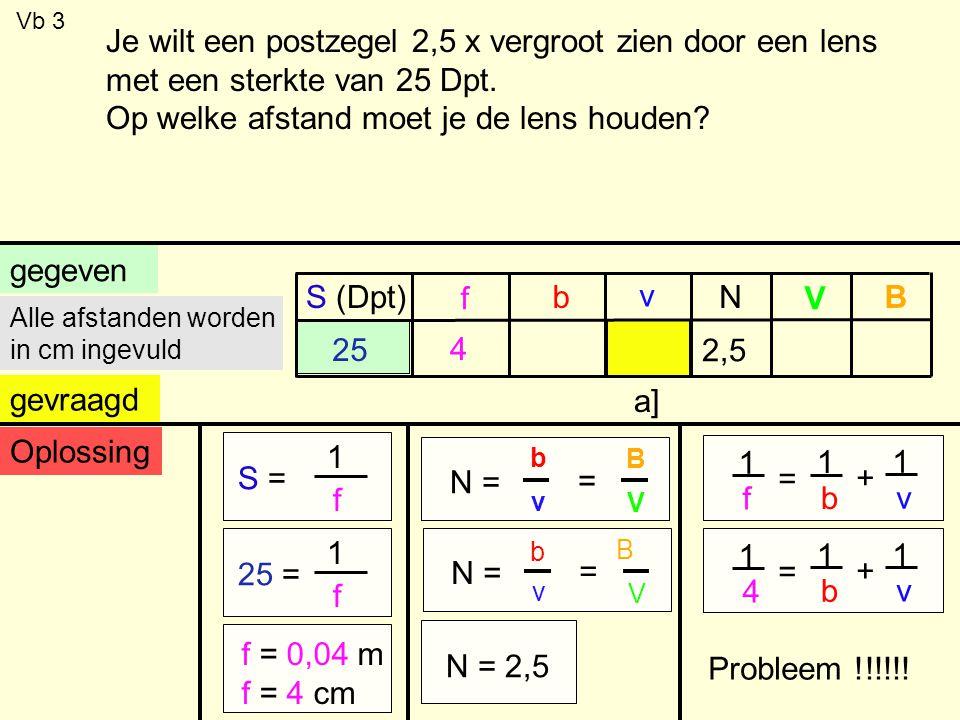 Vb 3 gegeven S (Dpt) f b v V BN gevraagd 25 a] Alle afstanden worden in cm ingevuld Oplossing S = 1 f 25 = 1 f f = 0,04 m f = 4 cm 1 f = 1 b + 1 v 1 4