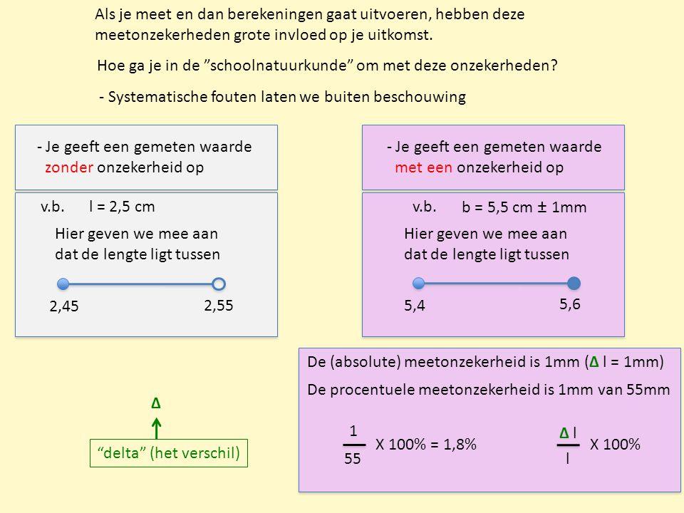"""Als je meet en dan berekeningen gaat uitvoeren, hebben deze meetonzekerheden grote invloed op je uitkomst. Hoe ga je in de """"schoolnatuurkunde"""" om met"""