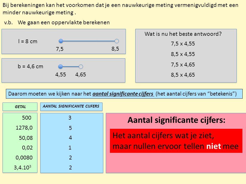 Bij berekeningen kan het voorkomen dat je een nauwkeurige meting vermenigvuldigd met een minder nauwkeurige meting. v.b. l = 8 cm 7,5 8,5 b = 4,6 cm 4