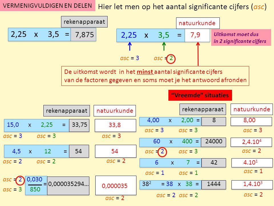 Vreemde situatie rekenapparaat natuurkunde rekenapparaat natuurkunde OPTELLEN EN AFTREKKEN natuurkunde 12,25 + 3,5 = cak= 2 De uitkomst wordt in het minst aantal cijfers achter de komma van de factoren gegeven en soms moet je het antwoord afronden cak= 1 rekenapparaat 12,25 + 3,5 = Hier let men op het aantal cijfers achter de komma (cak) 15,00 + 2,255 =17,26 12 - 4,5 = 8 12,35 + 34,65 = 47,00 cak= 2 cak= 3 cak= 0 cak= 1 cak= 2 cak= 0 15 + 0,05 = 15 cak= 0 cak= 2 cak= 0 Uitkomst moet dus in 1 cijfer achter de komma 15,8 15,75 17,255 7,5 47 15,05