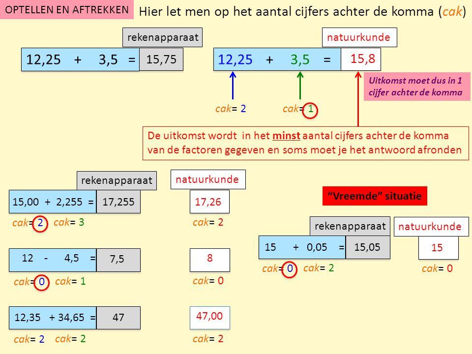 """""""Vreemde"""" situatie rekenapparaat natuurkunde rekenapparaat natuurkunde OPTELLEN EN AFTREKKEN natuurkunde 12,25 + 3,5 = cak= 2 De uitkomst wordt in het"""