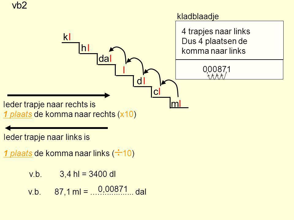 m d c da h k l l l l l l l Ieder trapje naar rechts is 1 plaats de komma naar rechts (x10) Ieder trapje naar links is 1 plaats de komma naar links ( 