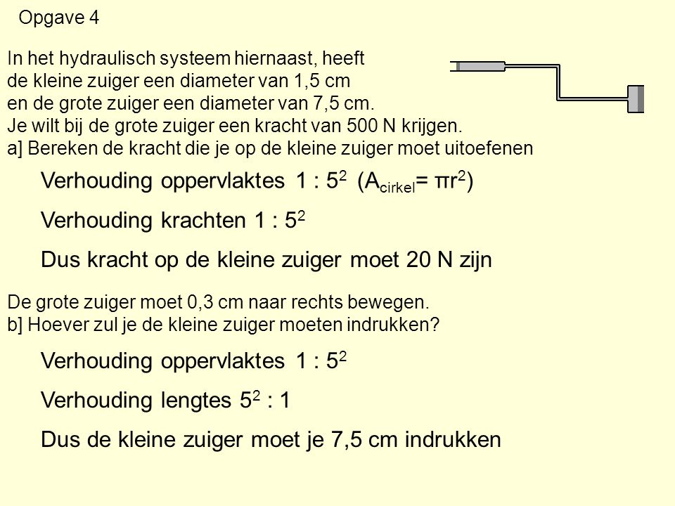 Opgave 4 In het hydraulisch systeem hiernaast, heeft de kleine zuiger een diameter van 1,5 cm en de grote zuiger een diameter van 7,5 cm. Je wilt bij