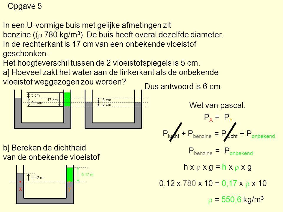 Opgave 5 In een U-vormige buis met gelijke afmetingen zit benzine ((  780 kg/m 3 ). De buis heeft overal dezelfde diameter. In de rechterkant is 17 c
