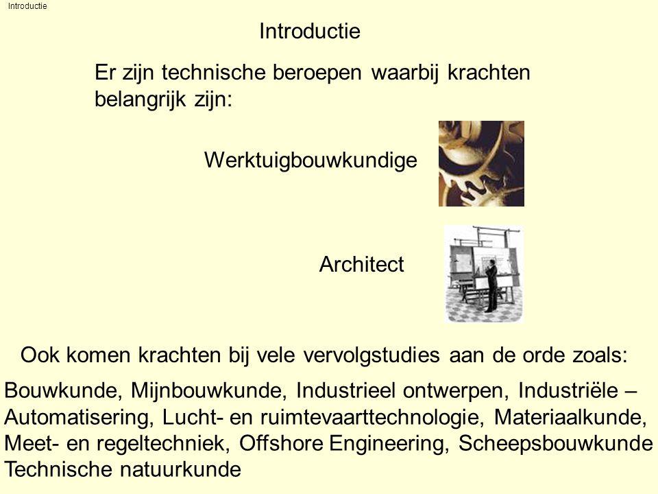 Introductie Er zijn technische beroepen waarbij krachten belangrijk zijn: Werktuigbouwkundige Architect Bouwkunde, Mijnbouwkunde, Industrieel ontwerpen, Industriële – Automatisering, Lucht- en ruimtevaarttechnologie, Materiaalkunde, Meet- en regeltechniek, Offshore Engineering, Scheepsbouwkunde Technische natuurkunde Ook komen krachten bij vele vervolgstudies aan de orde zoals: