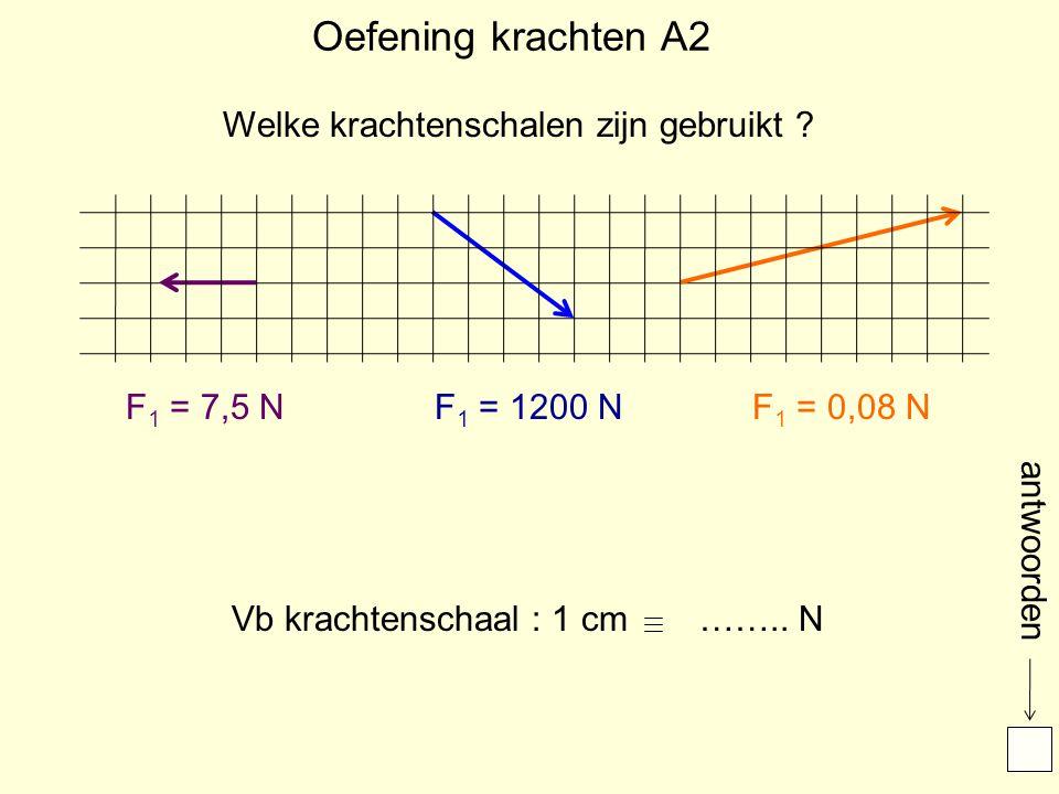 Oefening krachten A2 F 1 = 7,5 NF 1 = 1200 NF 1 = 0,08 N Welke krachtenschalen zijn gebruikt ? Vb krachtenschaal : 1 cm…….. N antwoorden