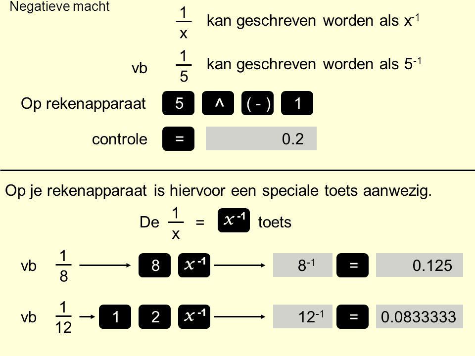 Negatieve macht Op je rekenapparaat is hiervoor een speciale toets aanwezig. De 1 x = x -1 88 -1 1 x kan geschreven worden als x -1 1 5 vb kan geschre