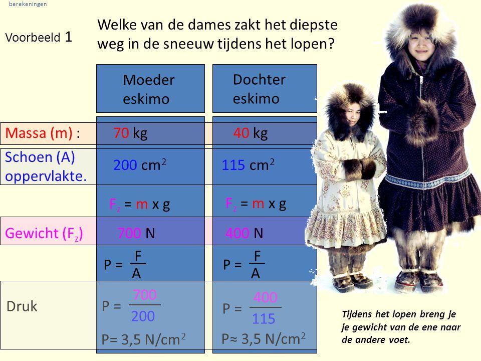 berekeningen Voorbeeld 1 Moeder eskimo Massa (m) :70 kg Dochter eskimo 40 kg Schoen (A) oppervlakte.