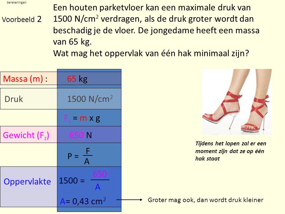 berekeningen Voorbeeld 3 Oppervlakte700 cm 2 Druk Kracht 2000 N/cm 2 1.400.000 N De heimachine hieronder slaat met een gewicht z.g.