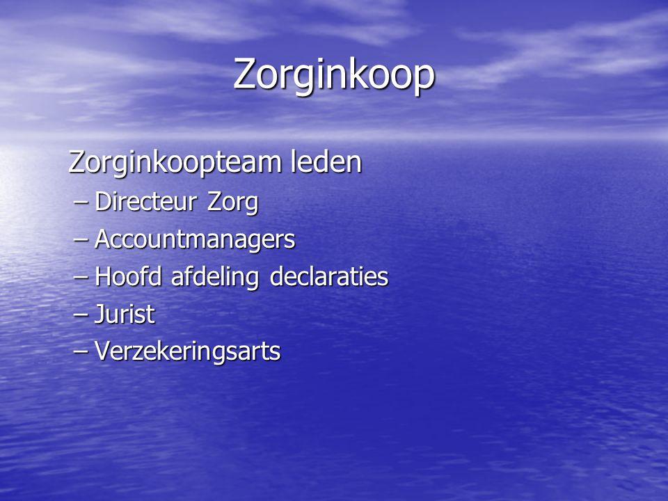 Zorginkoop Zorginkoopteam leden Zorginkoopteam leden –Directeur Zorg –Accountmanagers –Hoofd afdeling declaraties –Jurist –Verzekeringsarts