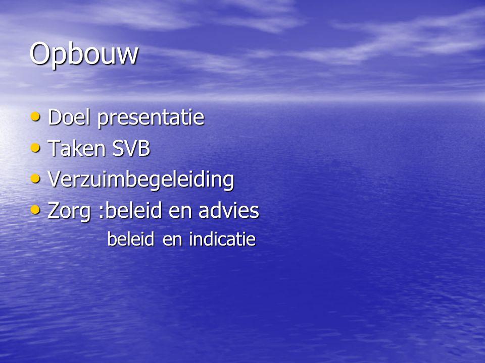 Opbouw Doel presentatie Doel presentatie Taken SVB Taken SVB Verzuimbegeleiding Verzuimbegeleiding Zorg :beleid en advies Zorg :beleid en advies belei