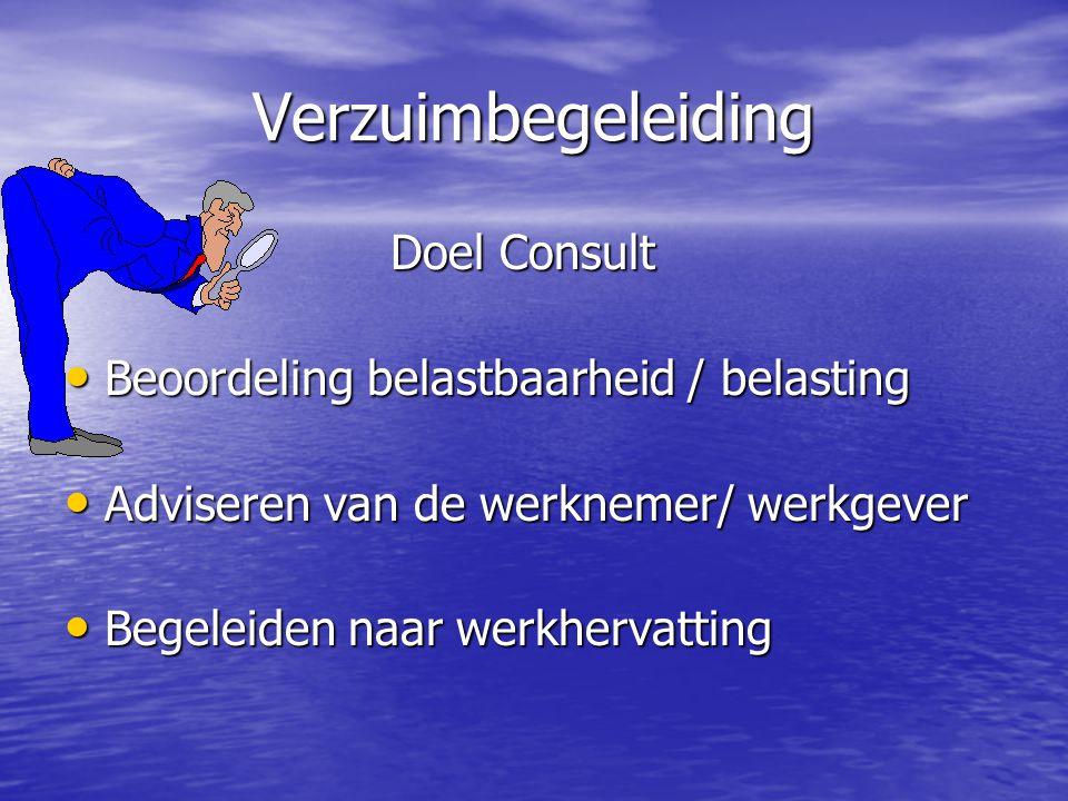 Verzuimbegeleiding Doel Consult Doel Consult Beoordeling belastbaarheid / belasting Beoordeling belastbaarheid / belasting Adviseren van de werknemer/