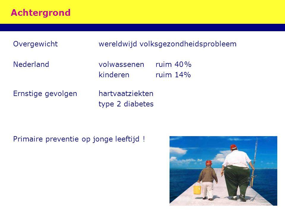 Achtergrond Overgewichtwereldwijd volksgezondheidsprobleem Nederlandvolwassenenruim 40% kinderenruim 14% Ernstige gevolgenhartvaatziekten type 2 diabe