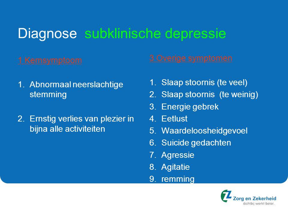 Diagnose subklinische depressie 1 Kernsymptoom 1.Abnormaal neerslachtige stemming 2.Ernstig verlies van plezier in bijna alle activiteiten 3 Overige symptomen 1.Slaap stoornis (te veel) 2.Slaap stoornis (te weinig) 3.Energie gebrek 4.Eetlust 5.Waardeloosheidgevoel 6.Suicide gedachten 7.Agressie 8.Agitatie 9.remming