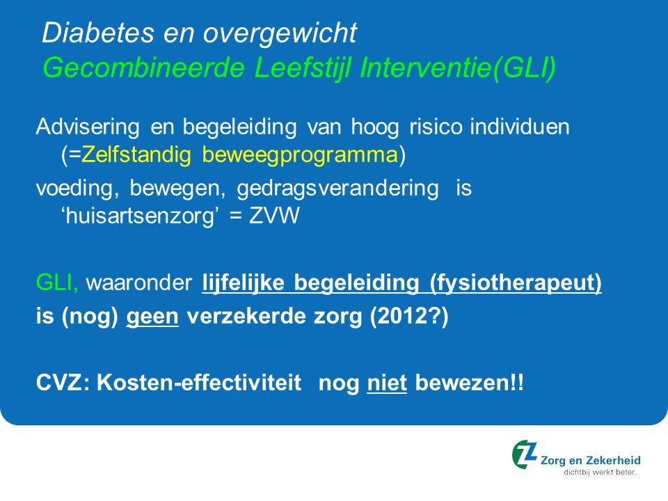 Diabetes en overgewicht Gecombineerde Leefstijl Interventie(GLI) Advisering en begeleiding van hoog risico individuen (=Zelfstandig beweegprogramma) voeding, bewegen, gedragsverandering is 'huisartsenzorg' = ZVW GLI, waaronder lijfelijke begeleiding (fysiotherapeut) is (nog) geen verzekerde zorg (2012?) CVZ: Kosten-effectiviteit nog niet bewezen!!