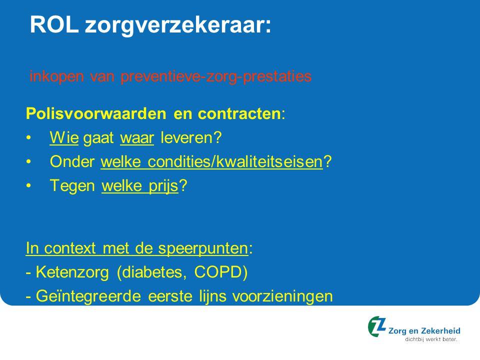 ROL zorgverzekeraar: inkopen van preventieve-zorg-prestaties Polisvoorwaarden en contracten: Wie gaat waar leveren? Onder welke condities/kwaliteitsei