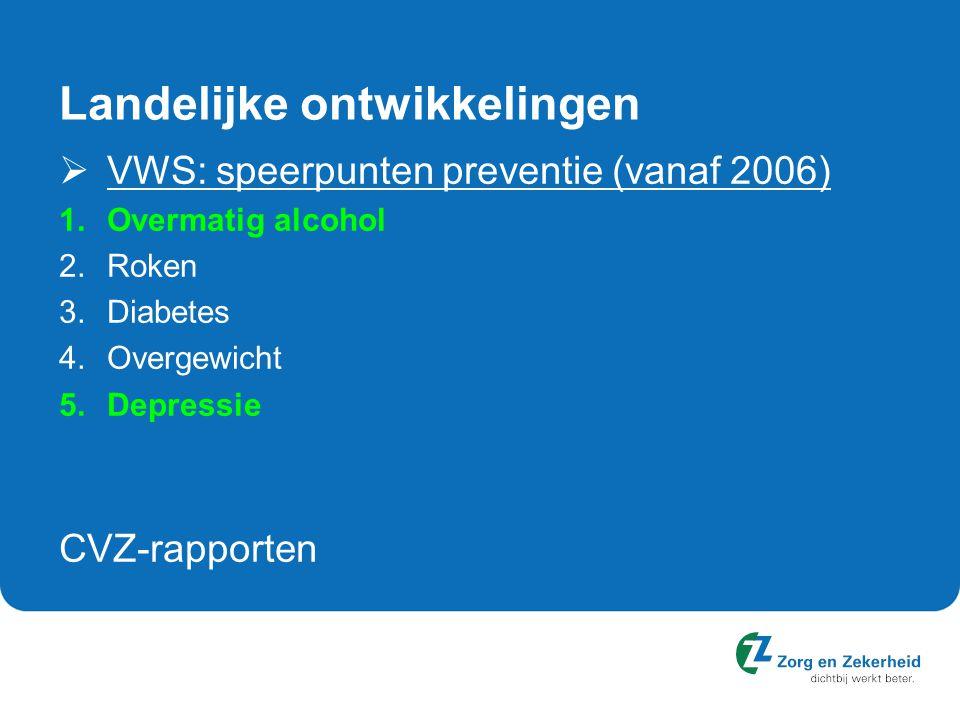 Landelijke ontwikkelingen  VWS: speerpunten preventie (vanaf 2006) 1.Overmatig alcohol 2.Roken 3.Diabetes 4.Overgewicht 5.Depressie CVZ-rapporten