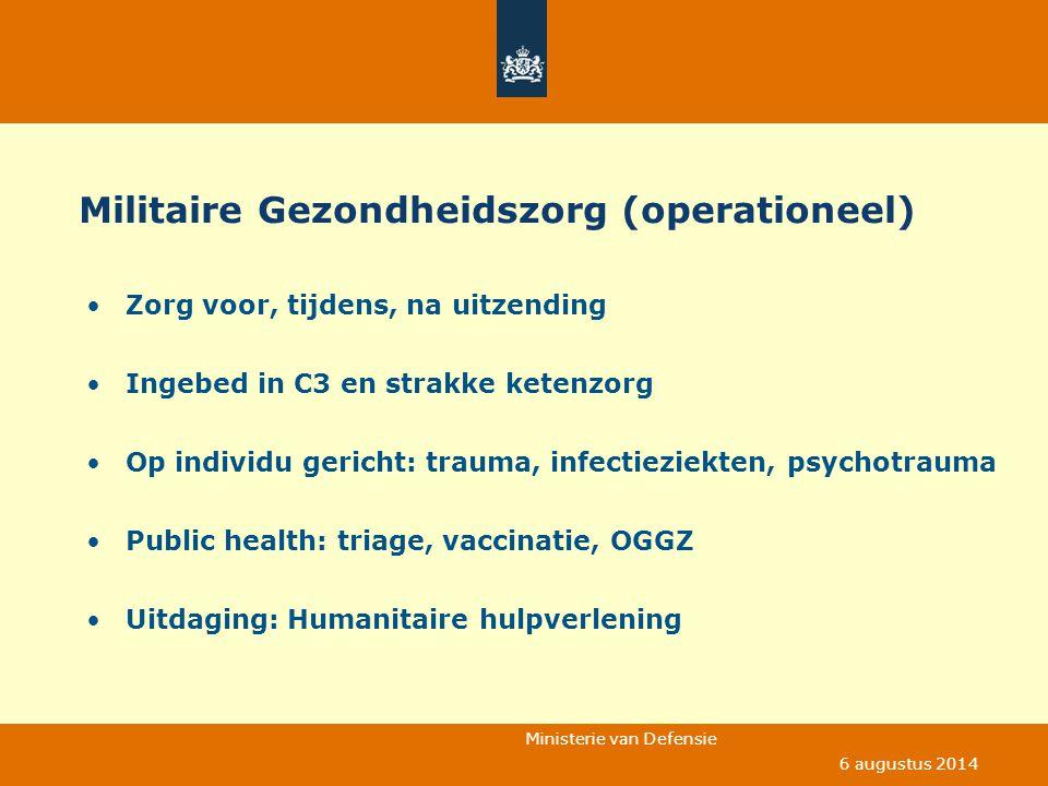 Ministerie van Defensie 6 augustus 2014 Militaire Gezondheidszorg (operationeel) Zorg voor, tijdens, na uitzending Ingebed in C3 en strakke ketenzorg