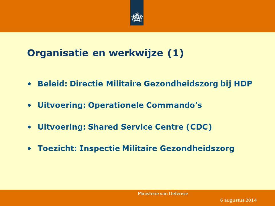 Ministerie van Defensie 6 augustus 2014 Organisatie en werkwijze (1) Beleid: Directie Militaire Gezondheidszorg bij HDP Uitvoering: Operationele Comma
