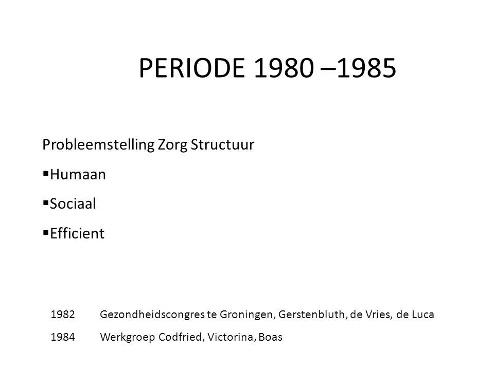 PERIODE 1980 –1985 Probleemstelling Zorg Structuur  Humaan  Sociaal  Efficient 1982Gezondheidscongres te Groningen, Gerstenbluth, de Vries, de Luca 1984Werkgroep Codfried, Victorina, Boas