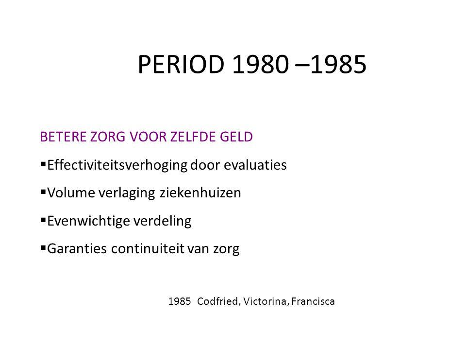 PERIOD 1980 –1985 BETERE ZORG VOOR ZELFDE GELD  Effectiviteitsverhoging door evaluaties  Volume verlaging ziekenhuizen  Evenwichtige verdeling  Ga