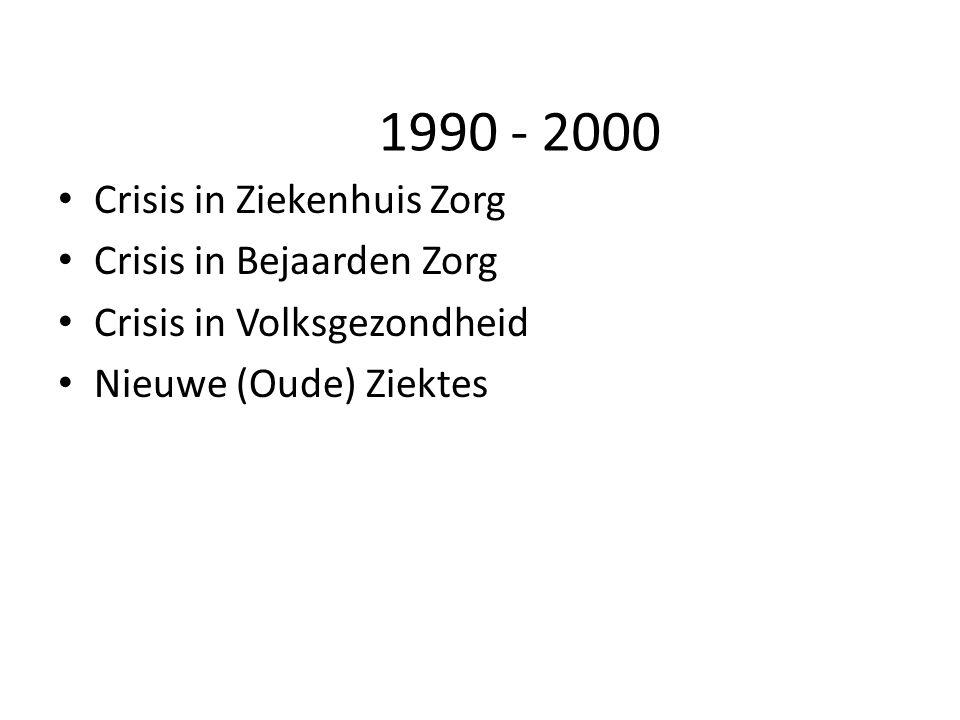1990 - 2000 Crisis in Ziekenhuis Zorg Crisis in Bejaarden Zorg Crisis in Volksgezondheid Nieuwe (Oude) Ziektes