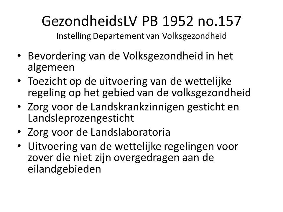 GezondheidsLV PB 1952 no.157 Instelling Departement van Volksgezondheid Bevordering van de Volksgezondheid in het algemeen Toezicht op de uitvoering van de wettelijke regeling op het gebied van de volksgezondheid Zorg voor de Landskrankzinnigen gesticht en Landsleprozengesticht Zorg voor de Landslaboratoria Uitvoering van de wettelijke regelingen voor zover die niet zijn overgedragen aan de eilandgebieden