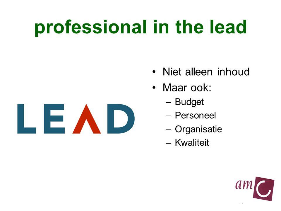 professional in the lead Niet alleen inhoud Maar ook: –Budget –Personeel –Organisatie –Kwaliteit