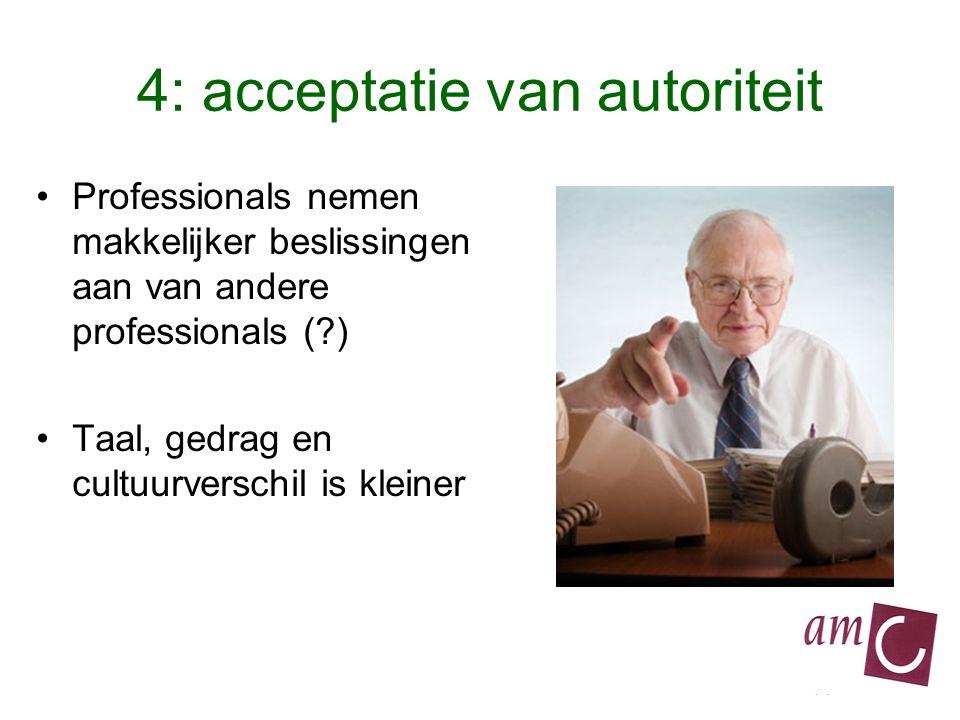 4: acceptatie van autoriteit Professionals nemen makkelijker beslissingen aan van andere professionals ( ) Taal, gedrag en cultuurverschil is kleiner